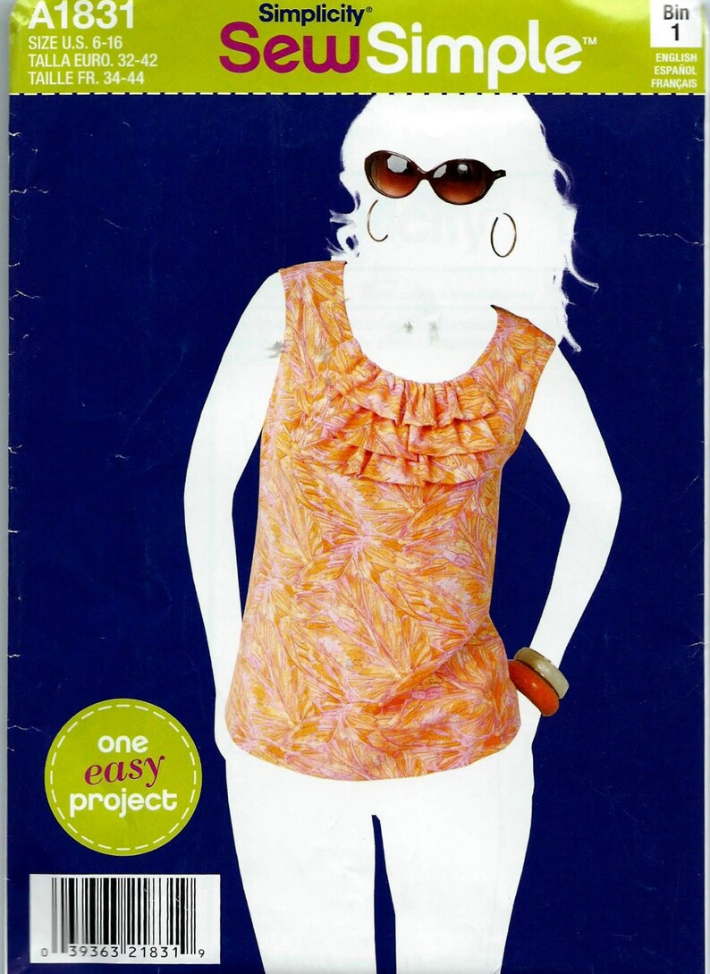 Simplicity Pattern Sew Simple #1831 to make Misses Tops  Sizes: 6-16  Uncut