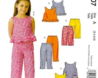Girls Stitch 'N Save Pattern for Top, Dress & Pants by McCall's #4807, Sizes 3-6 Uncut