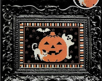 "Pumpkin Counted Cross Stitch-Artiste-Finished Size 7"" x 5"". Frame not included."