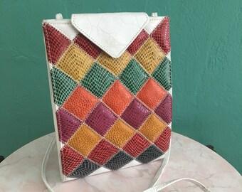vintage 80's patchwork handbag // leather crossbody bag