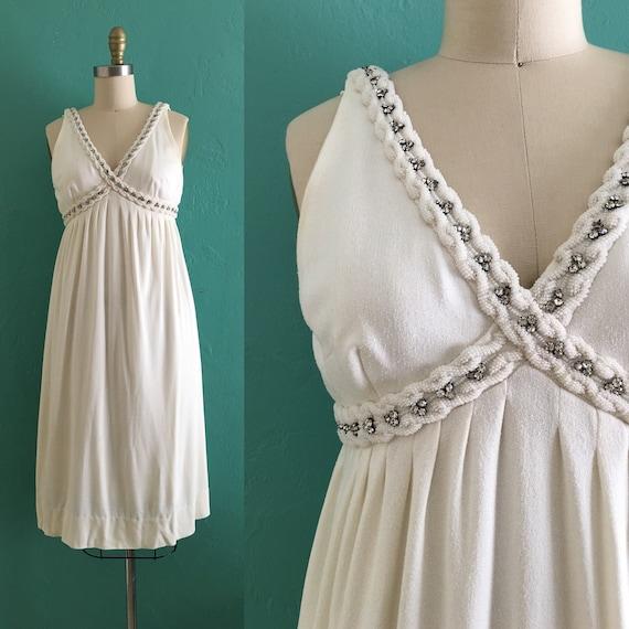 vintage 60's cream beaded evening dress