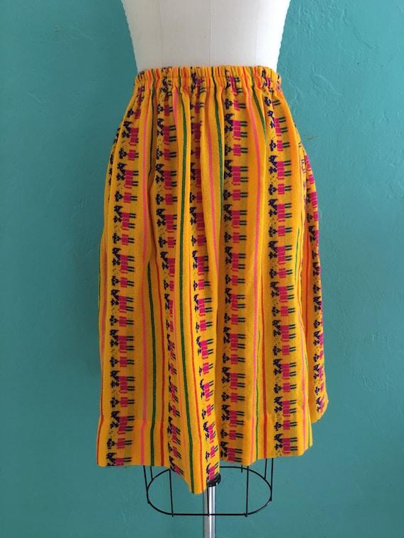 vintage 70's ethnic  cotton skirt // cotton novel… - image 3
