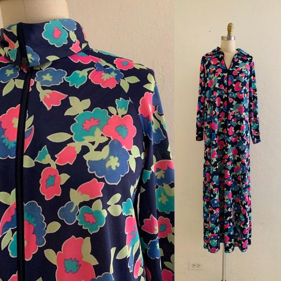 vintage 60's floral lounge dress  // maxi hostess