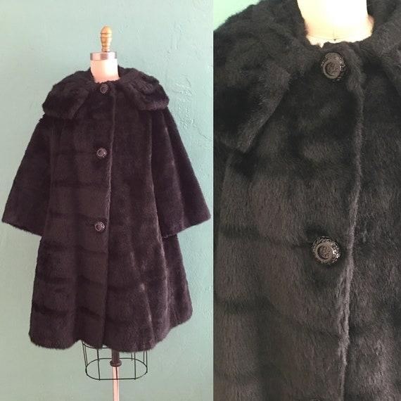 vintage 60's black faux fur coat  // swing coat wi