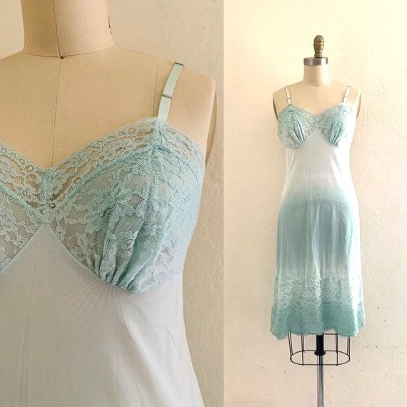 vintage green tie dye lace slip dress // tie dye c