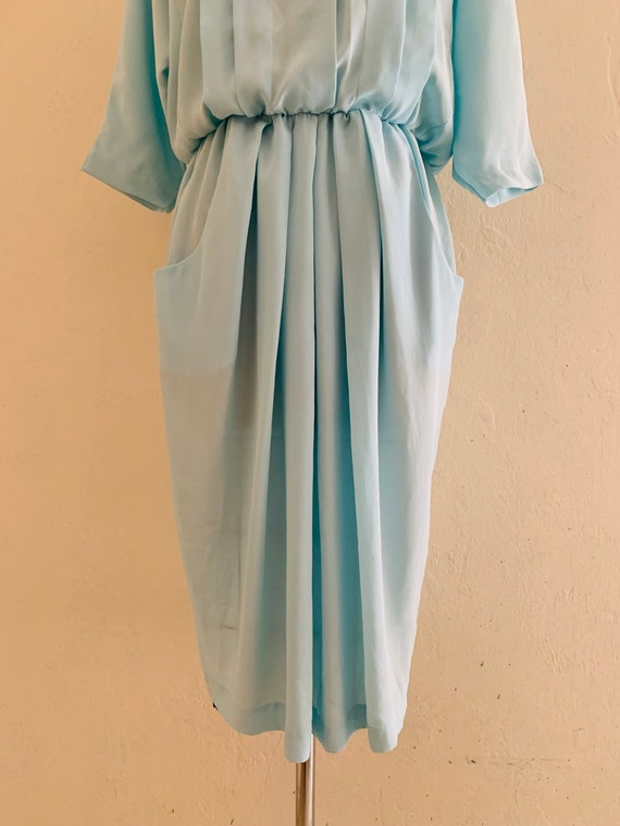 vintage 80's blue dress with pockets // baby blue… - image 7