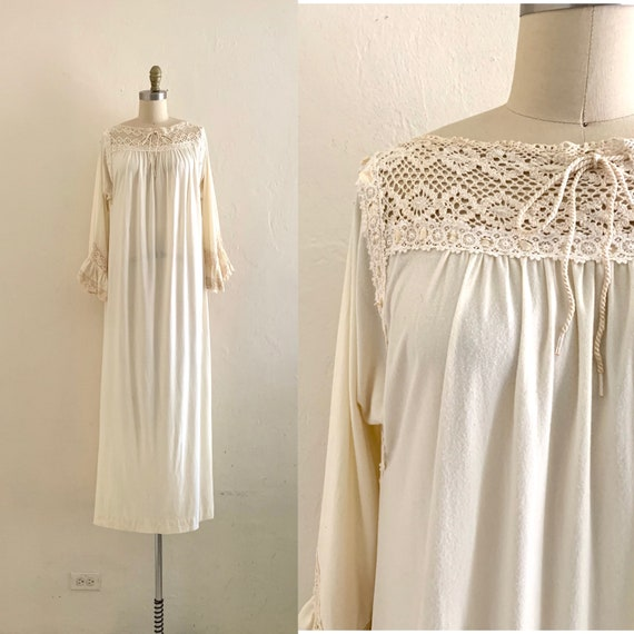 vintage 70's christian dior night gown / cream boh