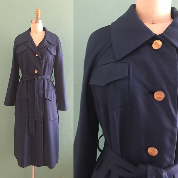 vintage 60's navy trench coat // blue spring coat