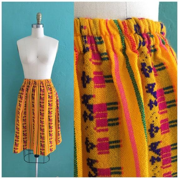 vintage 70's ethnic  cotton skirt // cotton novel… - image 1