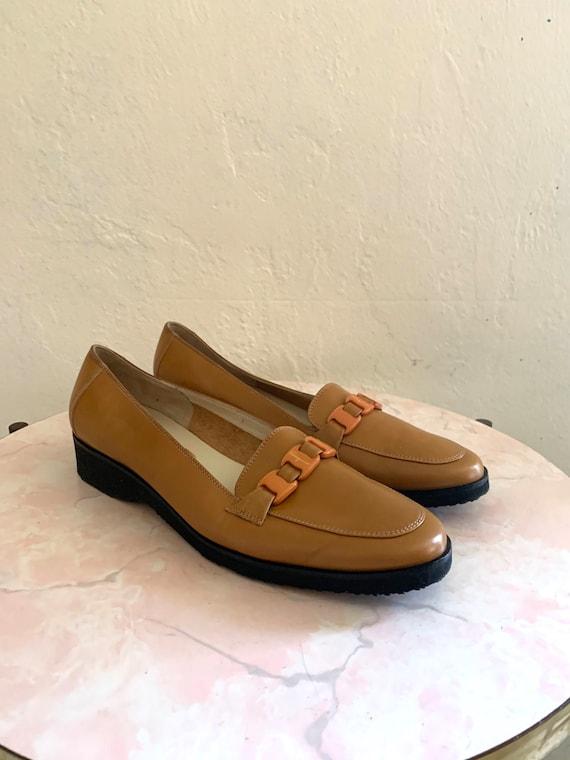 vintage 80's ferragamo camel brown shoes//  size 8