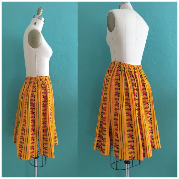 vintage 70's ethnic  cotton skirt // cotton novel… - image 5