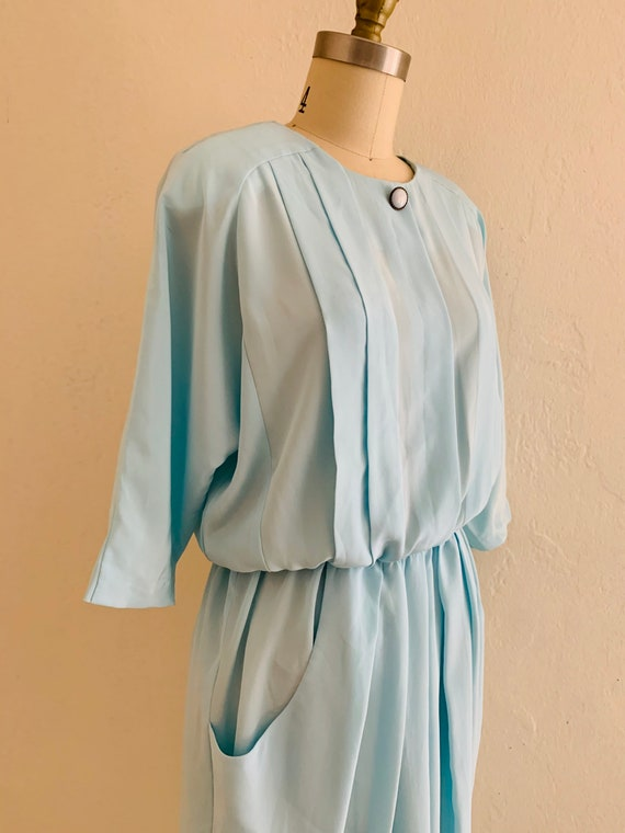 vintage 80's blue dress with pockets // baby blue… - image 3