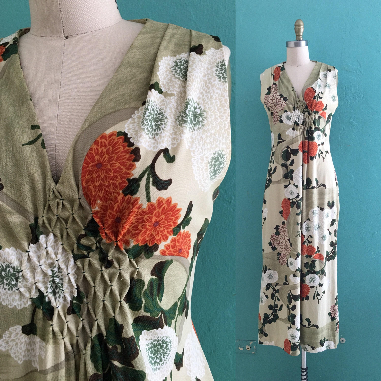 Vintage Scarf Styles -1920s to 1960s Vintage 60s Floral Print Maxi Dress  With Sash $48.00 AT vintagedancer.com