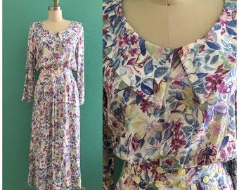 vintage 80's floral spring dress