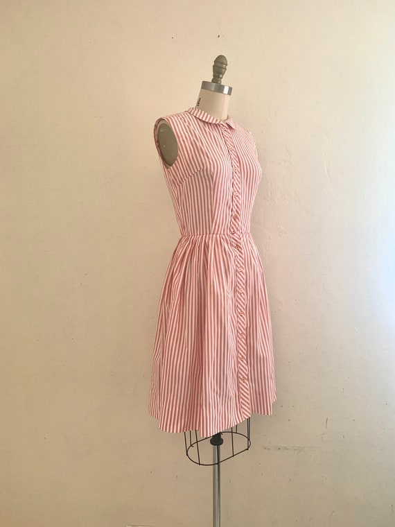 vintage 70's pink striped shirt dress - image 2