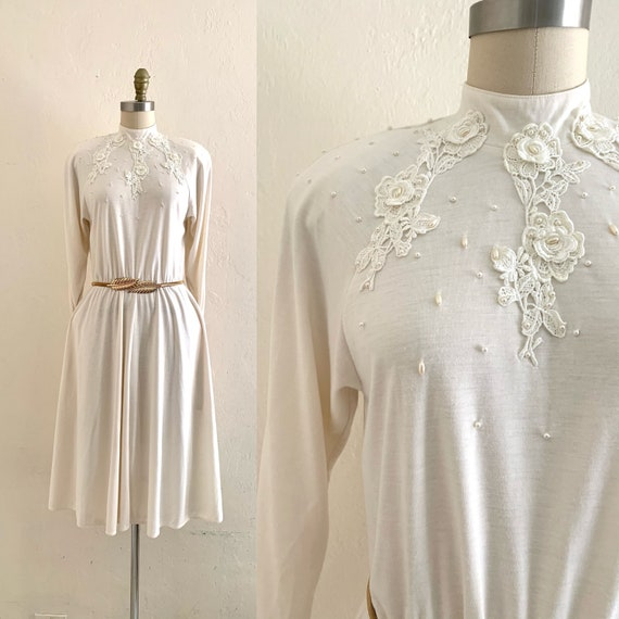 vintage 70's winter white dress with pockets