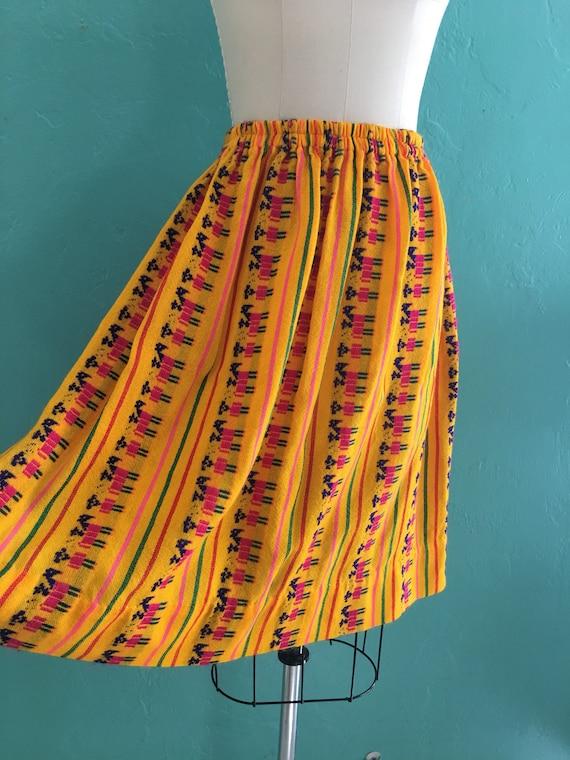 vintage 70's ethnic  cotton skirt // cotton novel… - image 7