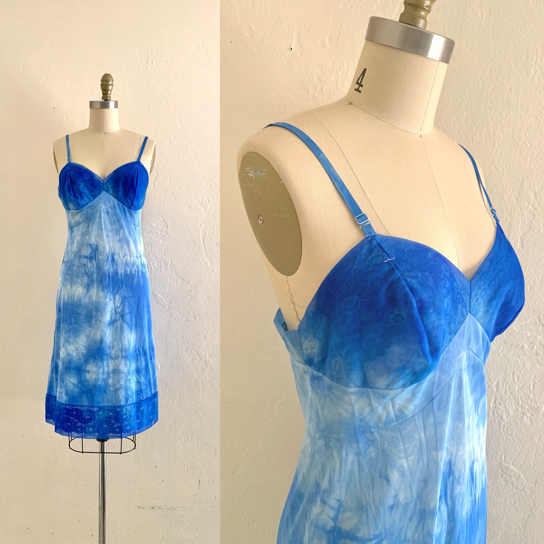 60s vintage nylon slip dress blue tie dye pattern size medium