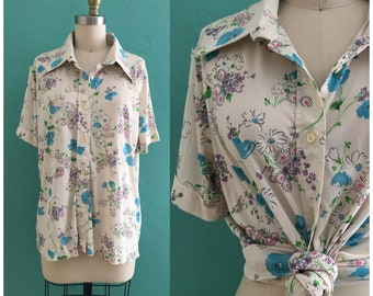 vintage 70's floral print top // summer short sleeve blouse
