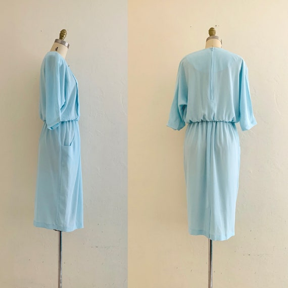 vintage 80's blue dress with pockets // baby blue… - image 4