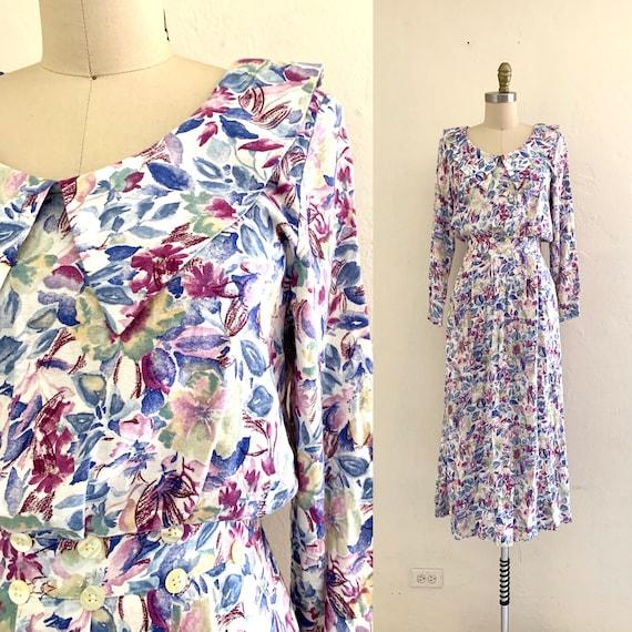 vintage 80's floral spring dress // midi floral dr