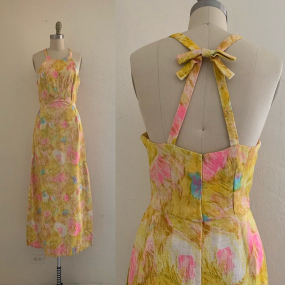 vintage 50's yellow floral maxi dress // printed m