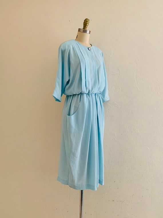 vintage 80's blue dress with pockets // baby blue… - image 2