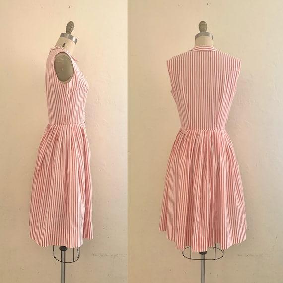 vintage 70's pink striped shirt dress - image 5