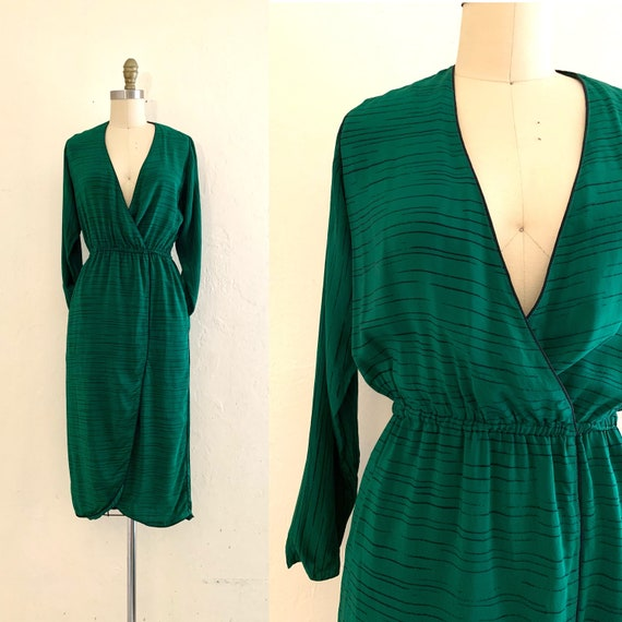 vintage 70's green silk draped dress