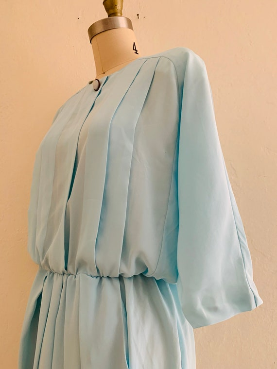 vintage 80's blue dress with pockets // baby blue… - image 6