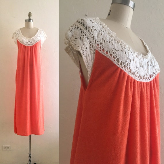 vintage 60's crochet terry dress  // orange cover