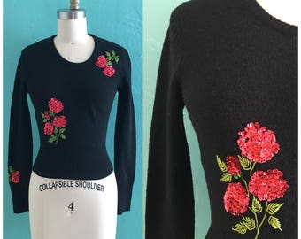 vintage 70's black sequin floral sweater // black knit top