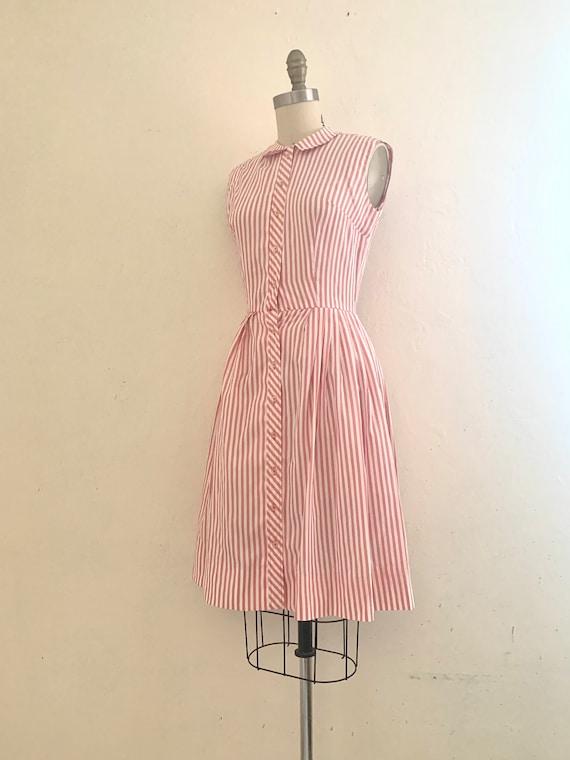 vintage 70's pink striped shirt dress - image 8