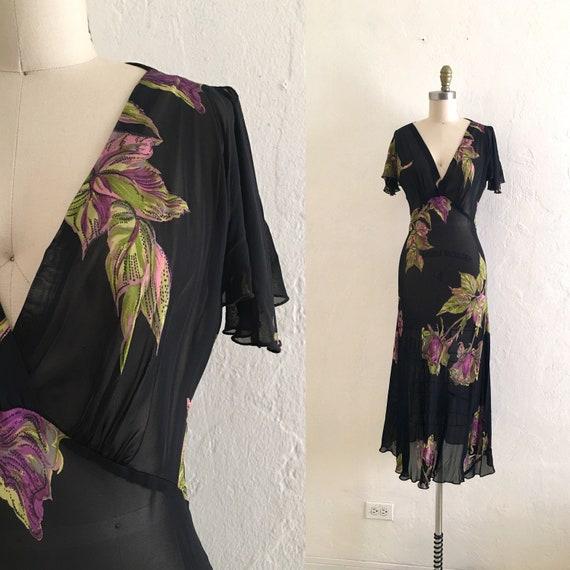 vintage 90's betsey johnson floral dress //  maxi