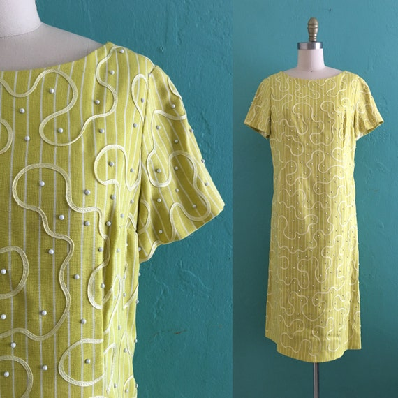 vintage 60's yellow swirl shift dress
