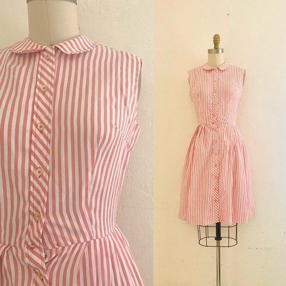 vintage 70's pink striped shirt dress - image 1
