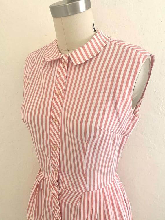 vintage 70's pink striped shirt dress - image 4