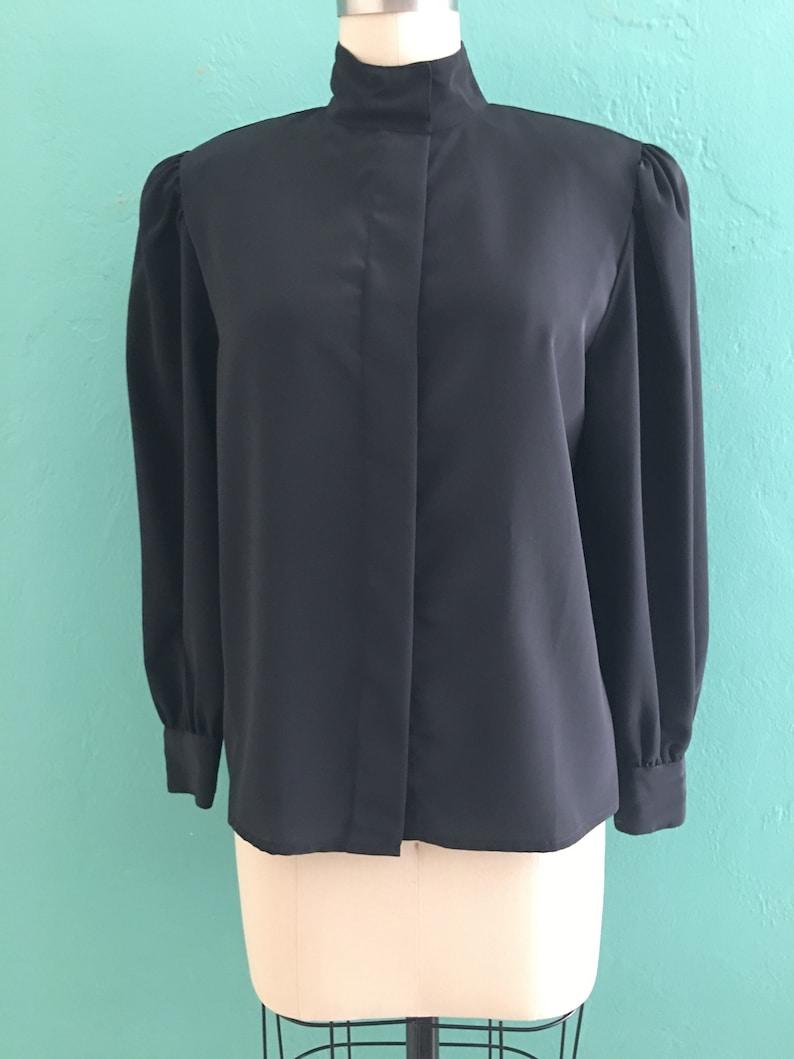 vintage 80/'s black blouse  secretary top