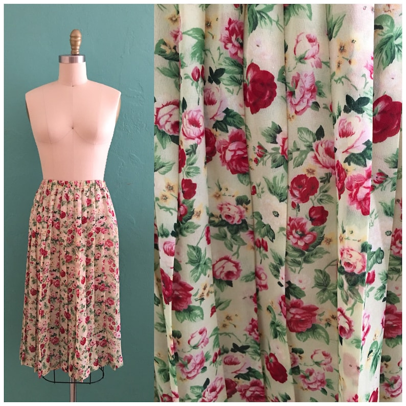 0a2218a77b Vintage 70's floral spring skirt // rose pleated skirt | Etsy