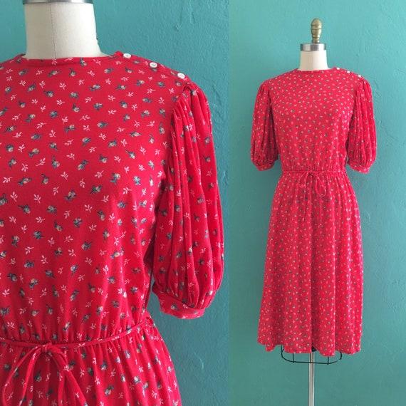 vintage 80's floral calico print knit shirt dress