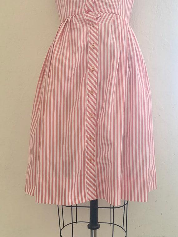vintage 70's pink striped shirt dress - image 6