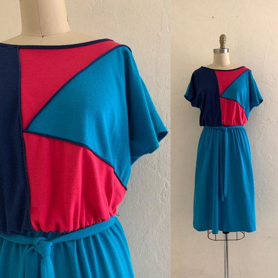 vintage 80's blue color block dress