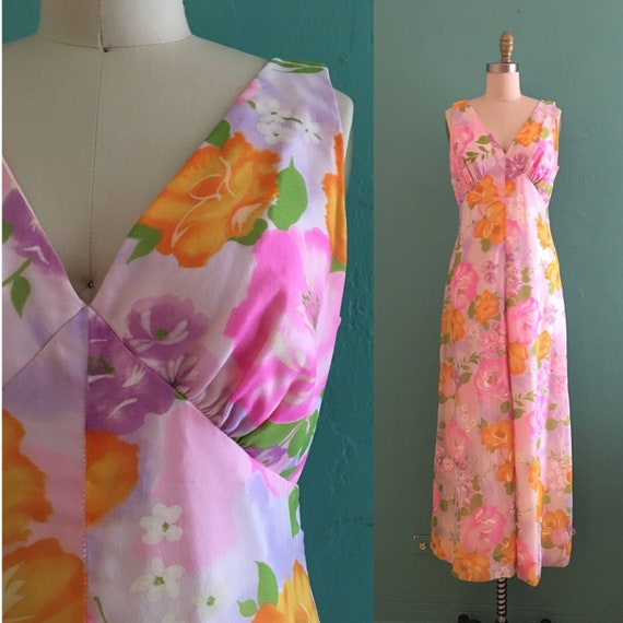 vintage 60's spring floral maxi dress // chiffon f