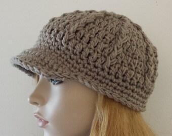 HAT in Khaki Knit Crochet   Fall Winter Fashion Womens Baseball Driver Cap  Men Visor Newsboy Hat b998da997223