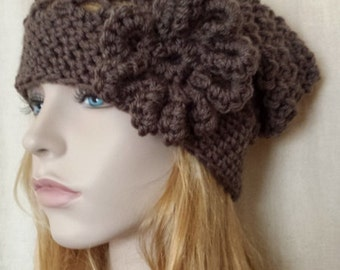 Beanie Hat, Slouchy Hat, Slouchy in Brown, Knit Crochet Hat, Tam Beret Hat, all Season Beanie Hat Available 28 colors, Chemo Cozy Mesh Hat