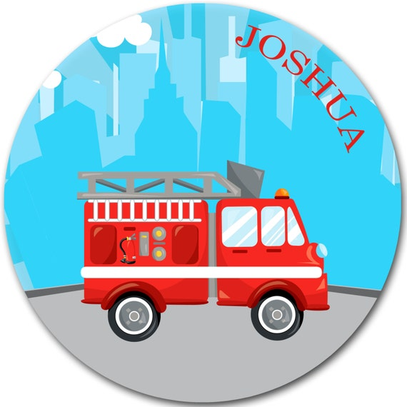 sc 1 st  Etsy & Kids personalized plate Firetruck dinnerware Kids Gifts