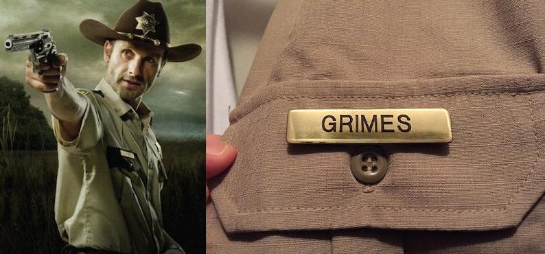 548a7586f56 Rick Grimes Sheriff Name Badge AMC The Walking Dead Costume