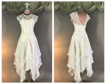 4fbe0d3510 1980s vintage dress 80s WHITE LACE SWEETHEART party cocktail prom wedding  formal dress