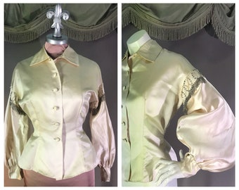 ab5ee4b2f0c2d 1950s blouse 50s vintage BEADED IVORY silk satin Italian couture bishop  sleeve New Look shirt blouse
