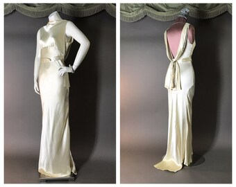 41af307a121d 1930s dress vintage 30s Incredible GOLD Lame IVORY SATIN rhinestone bias  Harlow wedding evening gown